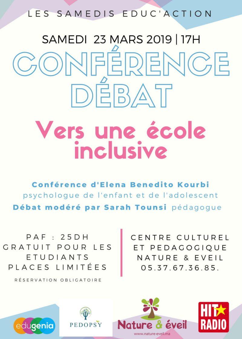 L'ÉCOLE INCLUSIVE – CONFÉRENCE DÉBAT Samedi 23/03/19
